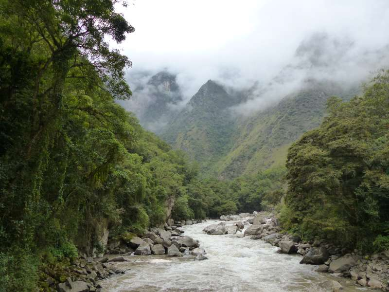 Urubamba River by Machu Picchu trailhead marker Km 104