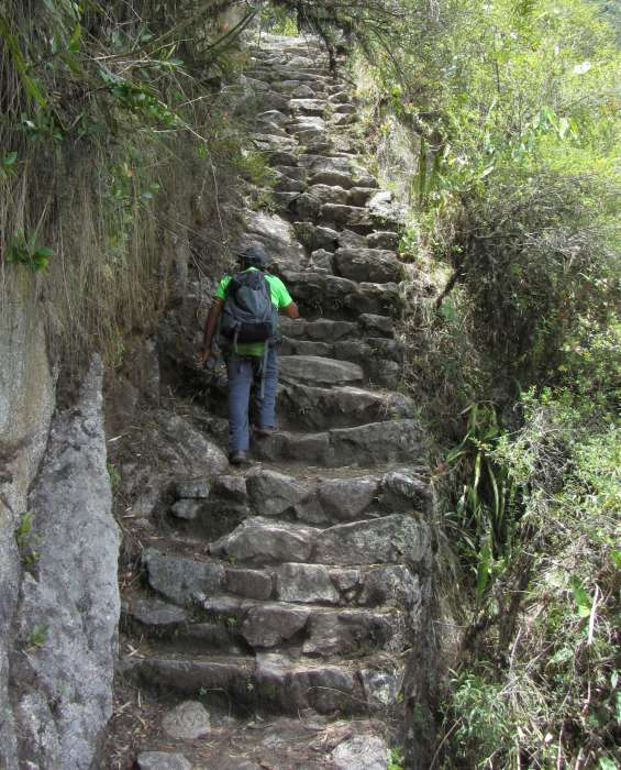 Steep and uneven stops up the Inca Trail