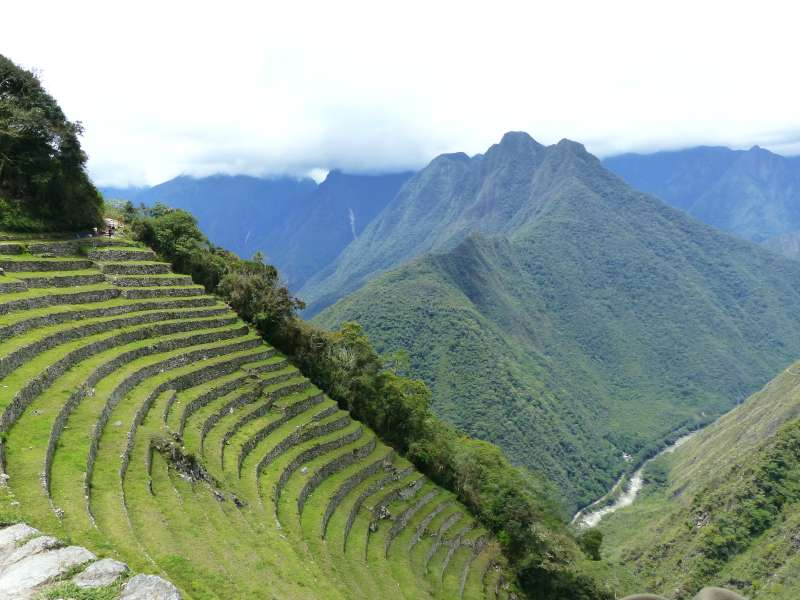 Lush terraces with the silver ribbon of the Urubamba River far below