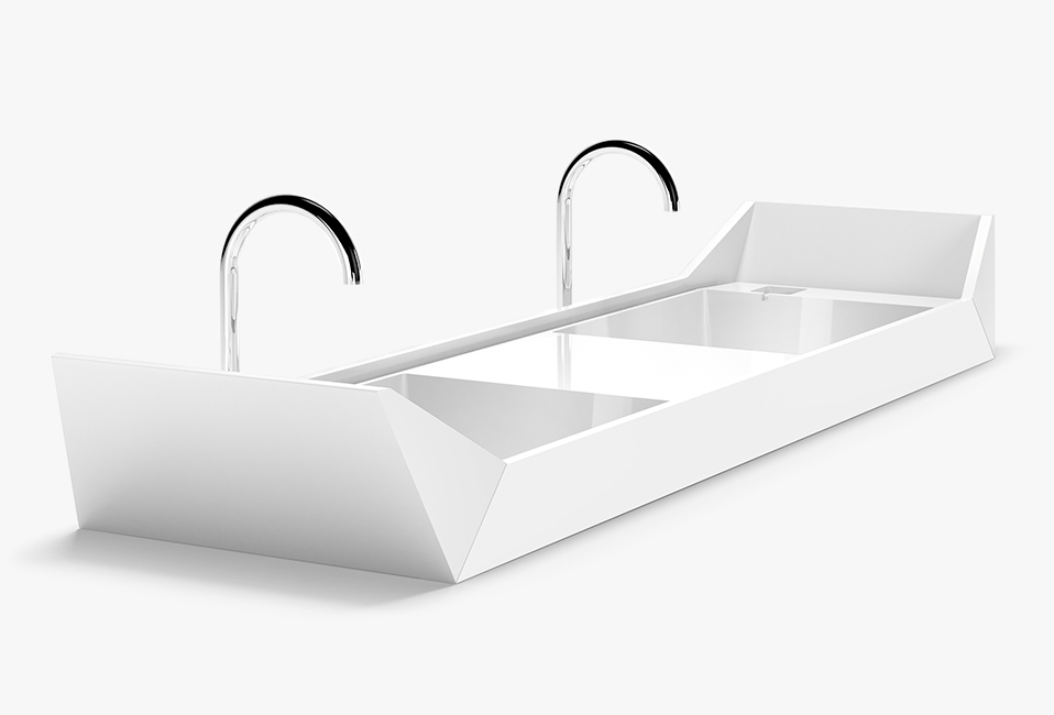 Double sink inspired by Singapore's iconic Chinese wooden Sampan boats