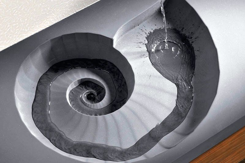 Concrete sink in the shape of an ammonite