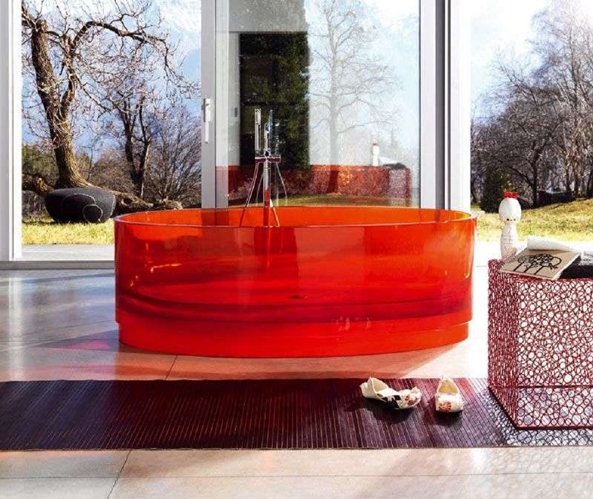 Transparent red bathtub