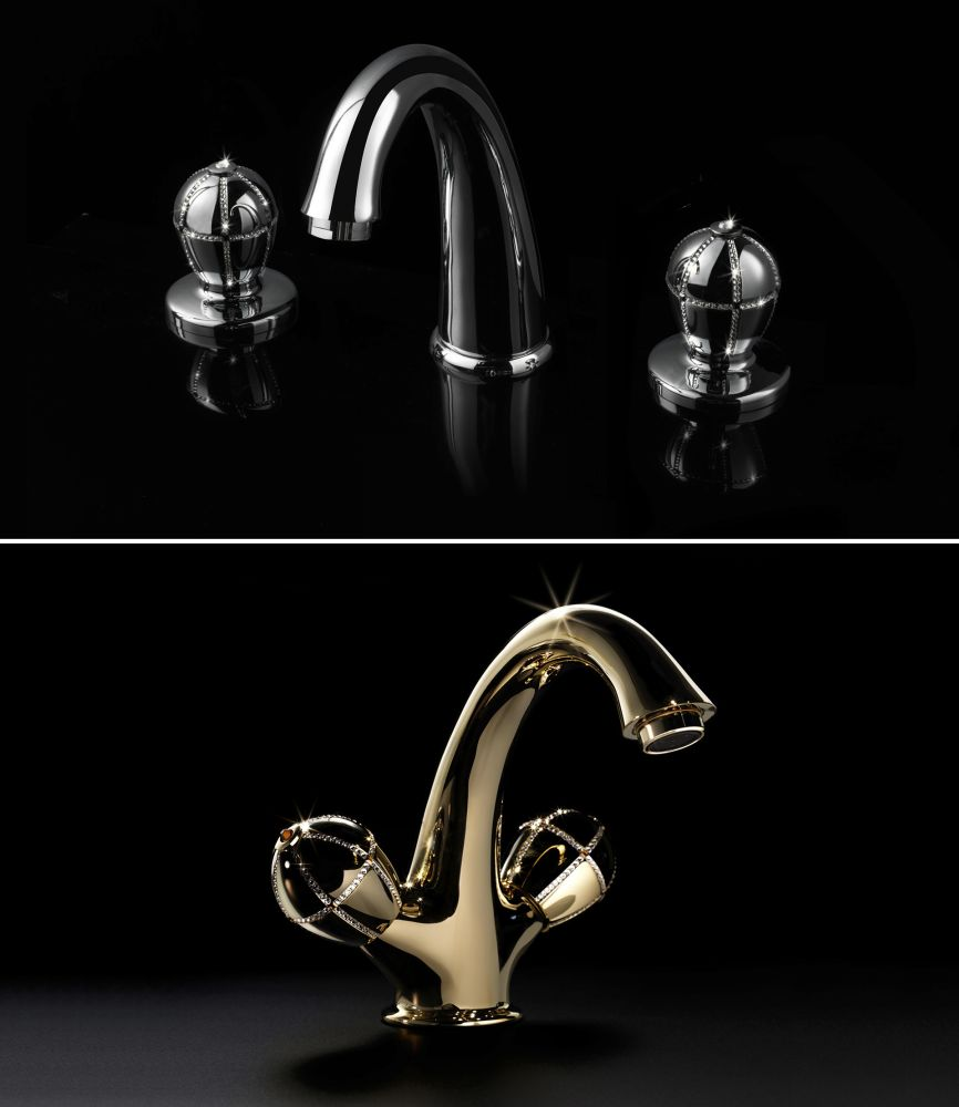 Faucets decorated with Swarovski crystals in chrome and gold finishes