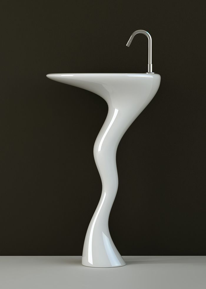 Sink with a curvy sinuous pedestal base