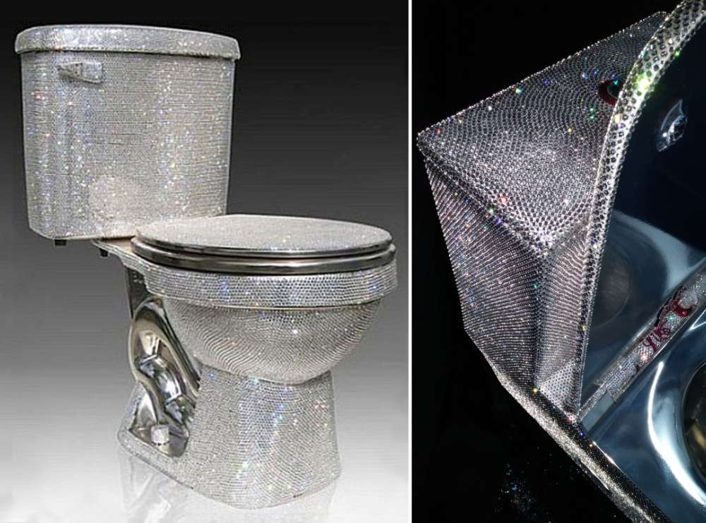 Toilet covered in Swarovski crystals