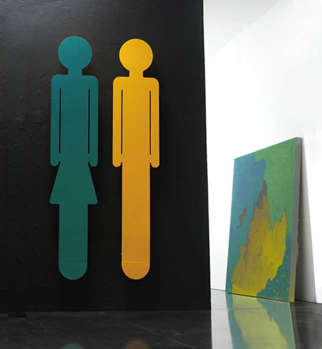 Wall heaters in silhouette of a man and a woman,