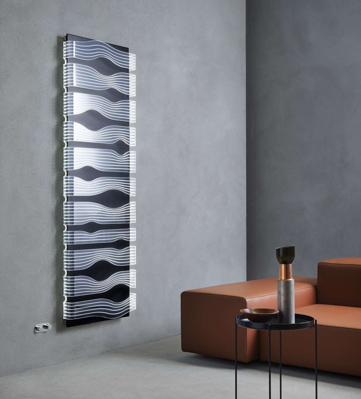 Wall heater faced with LED back lit acrylic panels