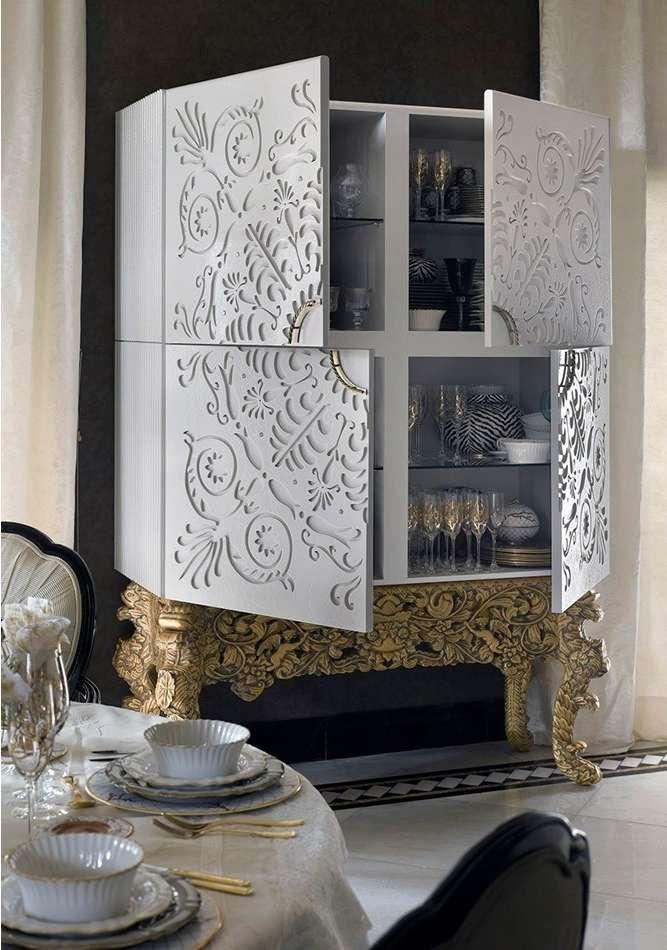 White drinks cabinet with 4 doors
