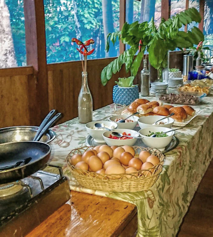 The lodge's breakfast buffet.