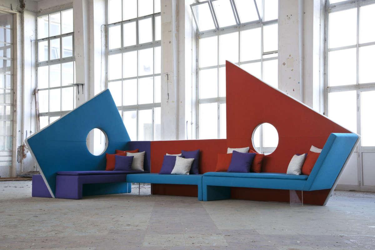 Colorful modular high back sofa