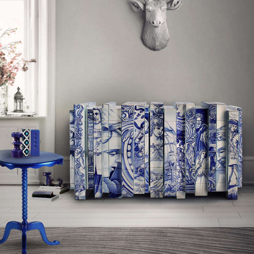 Sideboard covered in blue Azulejos tiles