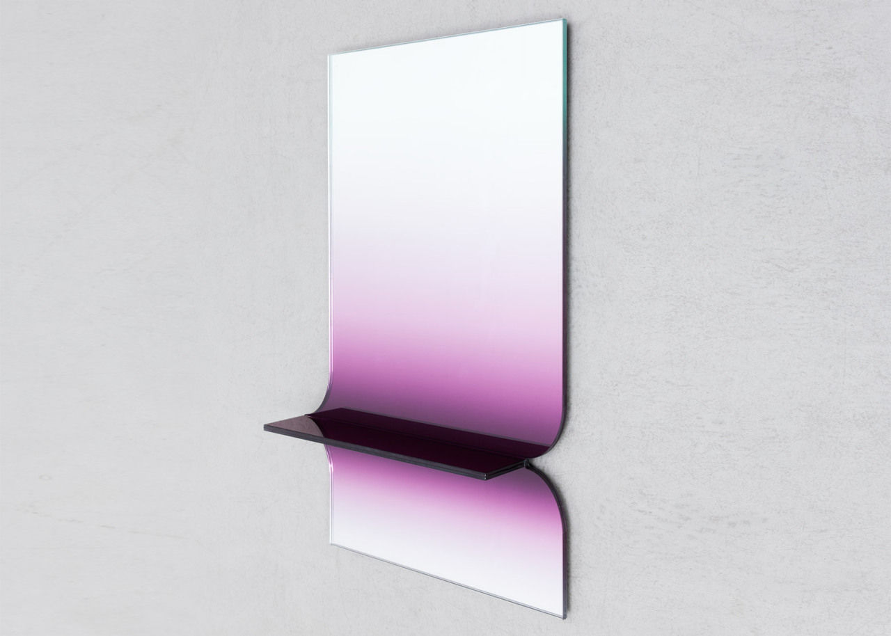 Glass shelf with graduated purple tint