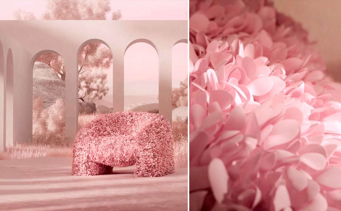 A chair inspired by the hortensia flower
