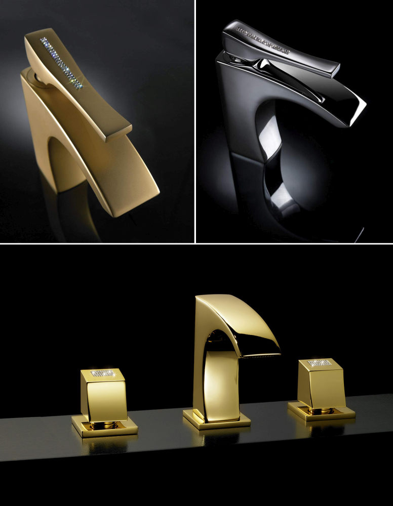 Faucets studded with Swarovski crystals