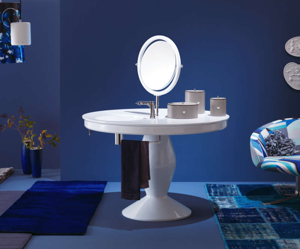 The Vanity table fitted with sink, swivel mirror and towel bar