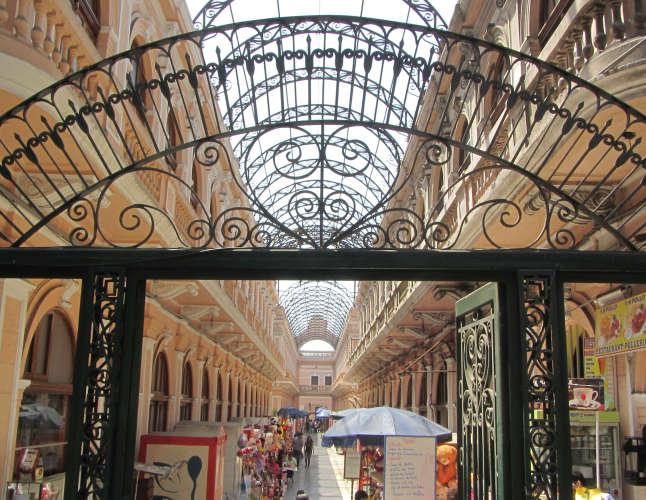 Ornate gate of a pedestrian shopping street