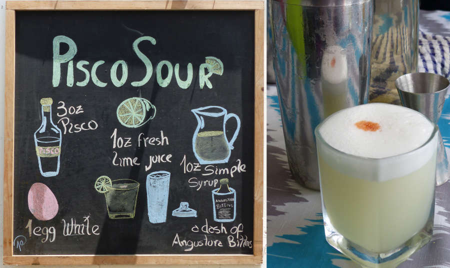 Pisco Sour, Peru's national drink with recipe on chalkboard