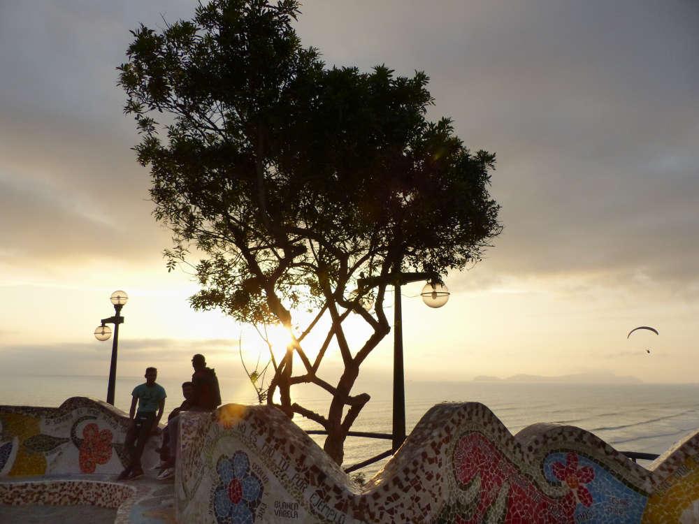 Pacific Ocean sunset at El Parque del Amor, the Park of Love