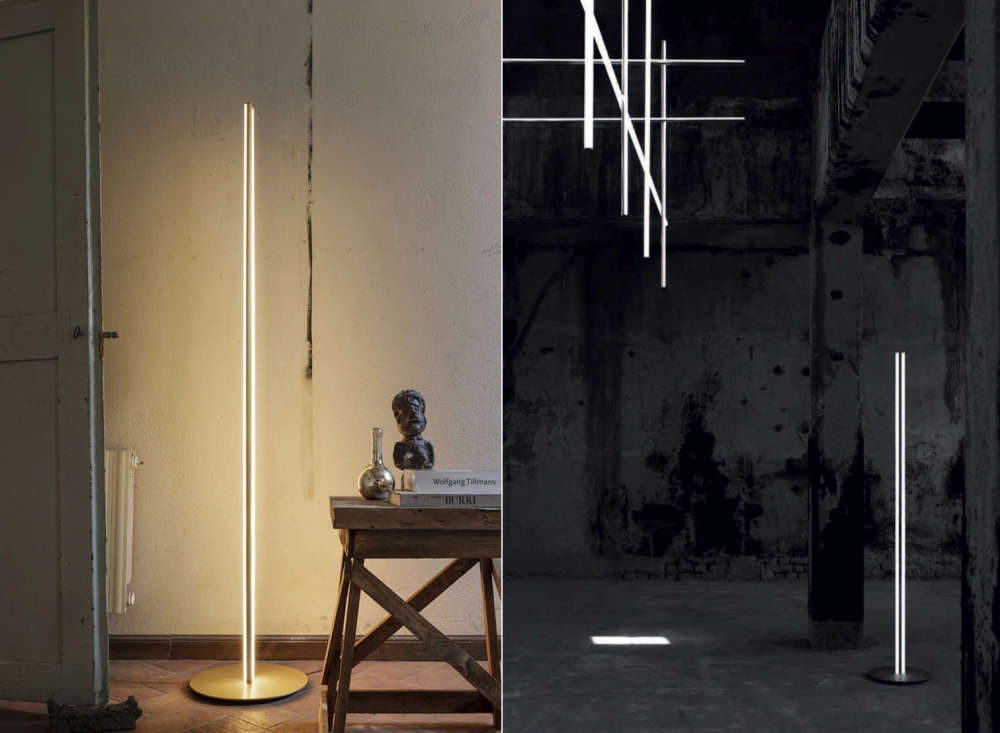 Thin LED Lighting strips as floor lamp and ceiling fixtures