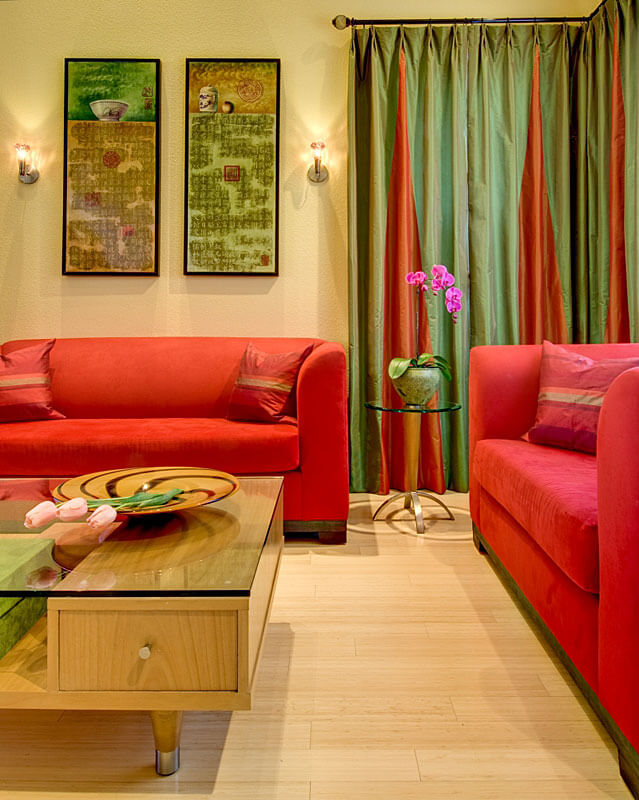 InterSpace Design - Renovation with Custom Drapes, Furniture and Eco-friendly Bamboo Flooring