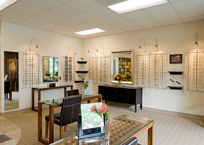 InterSpace Design - Commercial Interior Design of Frame Display Area in Optometrist office