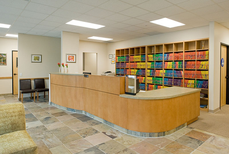 InterSpace Design   Commercial Interior Design Showing Reception Desk In Optometrist  Office