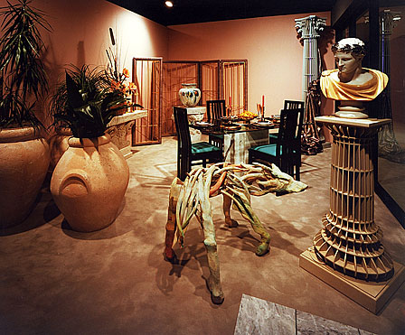 InterSpace Design - Showroom Design with whimsical stylized Corinthian columns