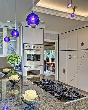 InterSpace Design - Kitchen Remodel showing Cabinet Doors with Stained Glass in Saratoga home