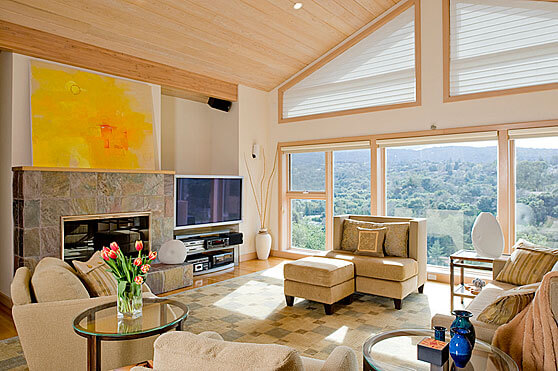 InterSpace Design –Living Room Renovation with Green, Energy Efficient Solar Shades and Custom Upholstery in Los Altos home